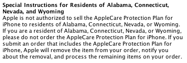 AppleCare Special Instructions