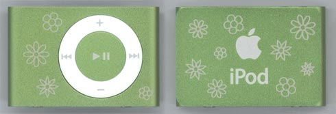 green iPod shuffle with laser engraved flowers